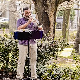 Trumpet by Richard Michael Lingo - People Musicians & Entertainers ( trumpet, musicians, savannah, people, park )