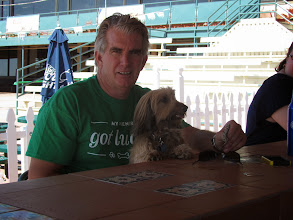 Photo: A Wiener Dog and his owner hang out at the Tiki Bar at Turf paradise between races. Photo by Turf Paradise