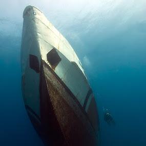 Sunken Ship & Diver by Rico Besserdich - Transportation Boats ( water, diver, sunken, aquatic, shipwreck, underwater, ship, sea, rico besserdich )