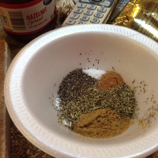 Measure out the spices into a small bowl and then blend together, set aside...