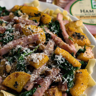 Smoked Ham with Butternut Squash Over Noodles.