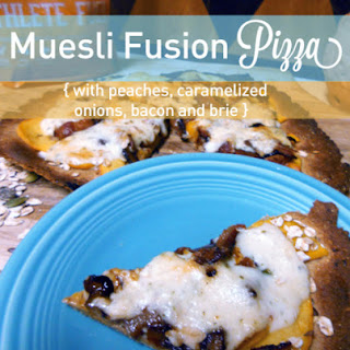Muesli Pizza with caramelized onion, peach, brie, and bacon