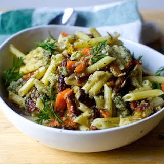 Pasta Salad with Roasted Carrots and Sunflower Seed Dressing.