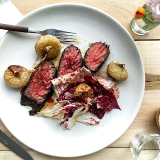 Seared Steak with Cipolline Onions and Radicchio
