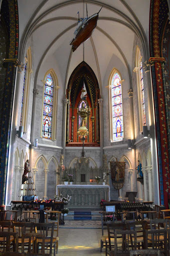 The peaceful interior of Chappelle Notre Dame des Flots near the port of Le Havre, France.