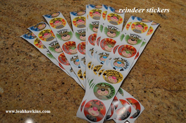 reindeer stickers for the holiday party
