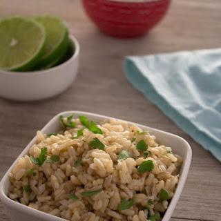 Pressure Cooker Cilantro Lime Brown Rice (Chipotle Copycat).