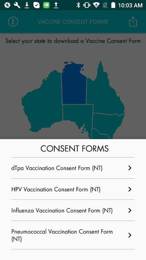 Vaccine Consent Forms App- screenshot