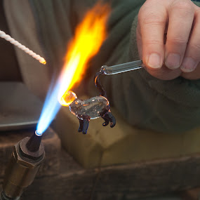 Glass Work by an Artisan.  by Stefen Dicks - News & Events World Events ( work, cat, craft, artisan, glass, artist, flame )
