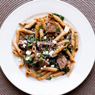 Pasta with Steak and Spinach.