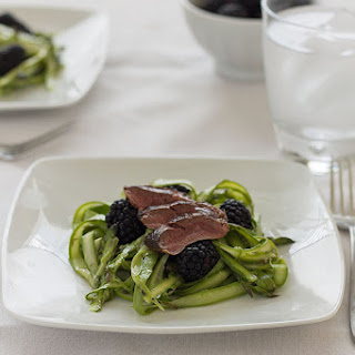 Shaved Asparagus, Blackberry and Seared Duck Breast Salad.