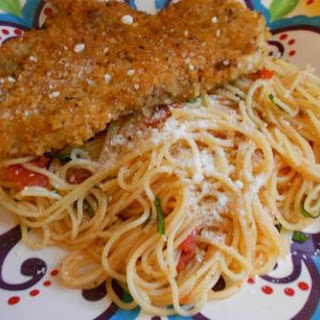 Crispy Italian Chicken Breasts With Pasta.