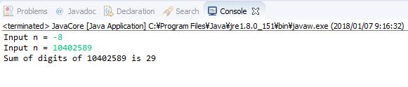 Java - Tính tổng các chữ số của số nguyên dương n