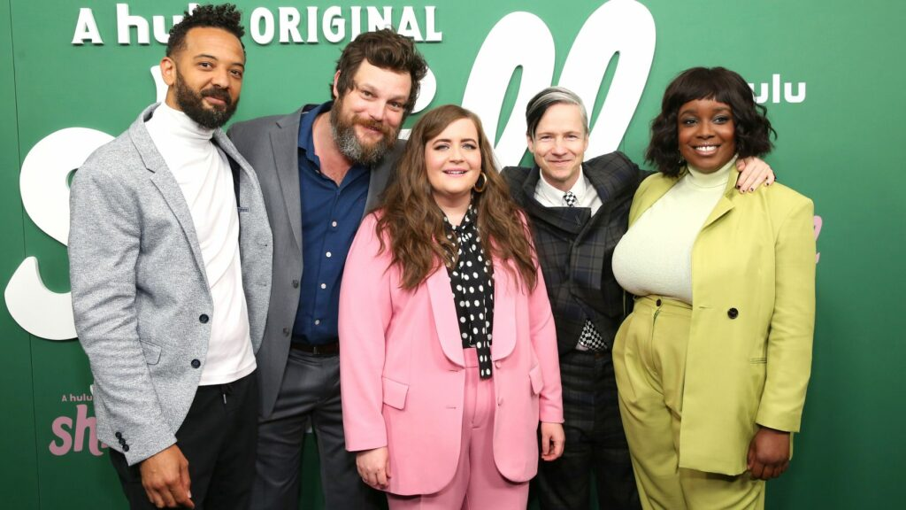 MONICA SCHIPPER VIA GETTY IMAGES  Ian Owens, Luka Jones, Aidy Bryant, John Cameron Mitchell, and Lolly Adefope at the premiere of Hulu's 'Shrill' in New York on March 13, 2019.