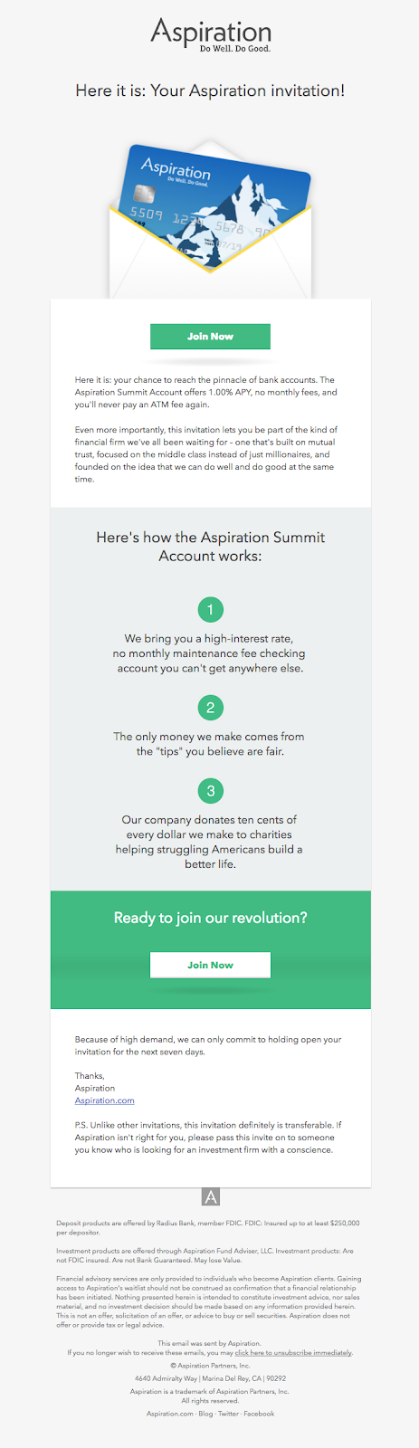 Aspiration product update announcement email campaign example