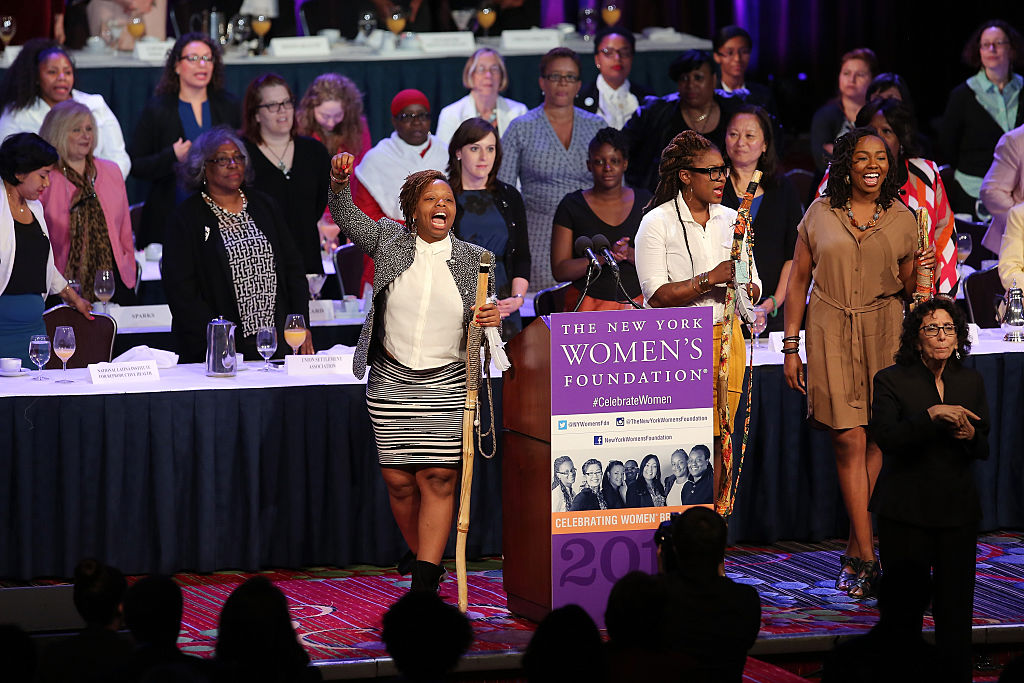 Black Lives Matter co-founders Patrisse Cullors, Alicia Garza and Opal Tometi speak onstage during The New York Women's Foundation Celebrating Women Breakfast at Marriott Marquis Hotel on May 14, 2015 in New York City.