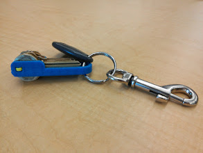 Photo: BladeKey, printed version, paramaterized for my particular stack of keys.