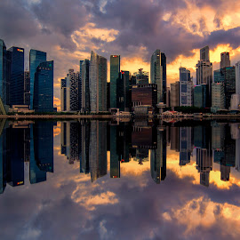 by Gordon Koh - City,  Street & Park  Vistas ( shenton way, clouds, skyline, riverfront, cityscape, travel, singapore, city, financial district, skyscraper, sunset, asia, buildings, jubliee bridge, waterfront )