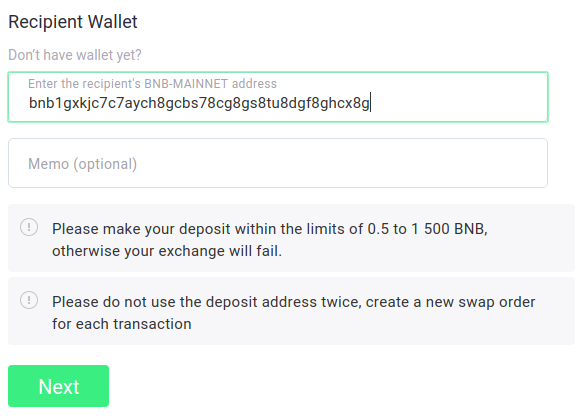 BEP2 wallet address