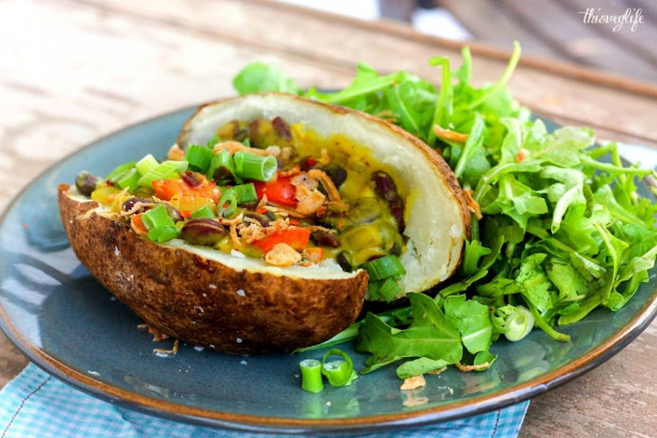 Two-Bean Curry on Baked Potato Recipe