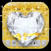Shiny Gold Heart Diamond Keyboard