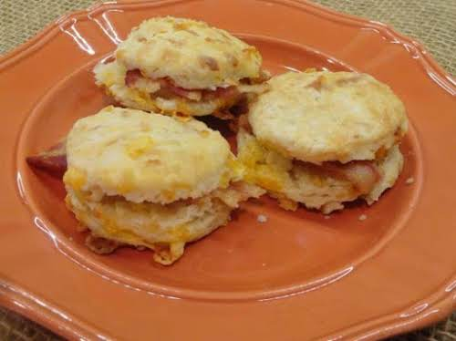"""Bacon Biscuit Bites """"The bacon grease added to the dough makes these..."""