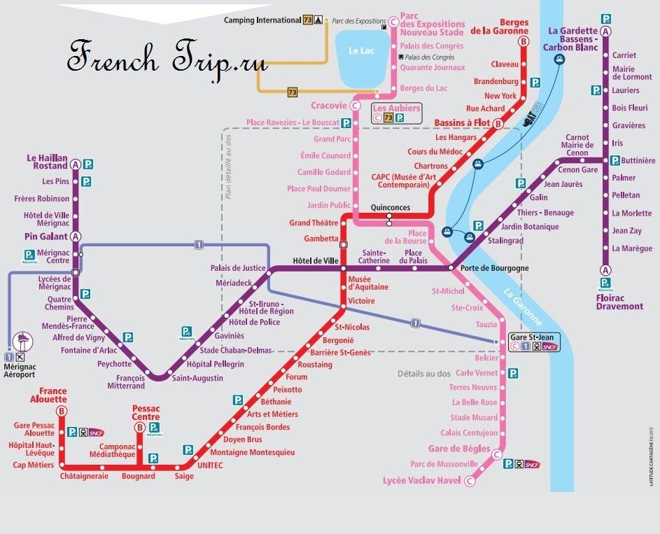 Расположение парковок Park & Ride на карте Бордо