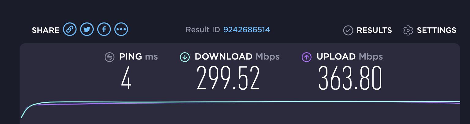 Speedtest result for DOWNLOAD bandwidth