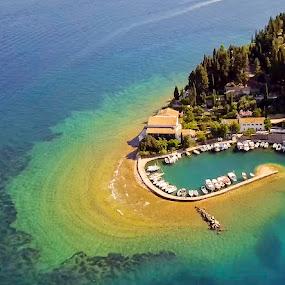 by Nikos Diavatis - Landscapes Waterscapes ( greece, corfu, aerial, fishing boat, kerkyra )