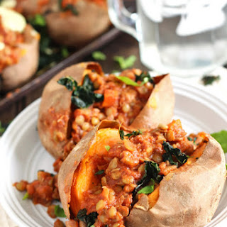 Barbecue Lentil Stuffed Sweet Potatoes.