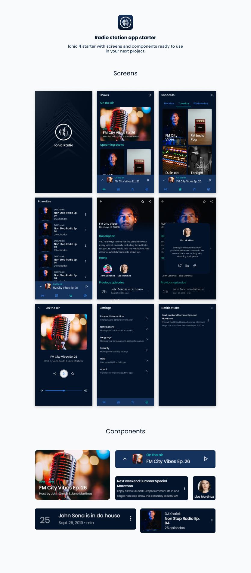 Radio App | Ionic 5 | Angular | UI Theme | Template App | Starter App & Components - 1