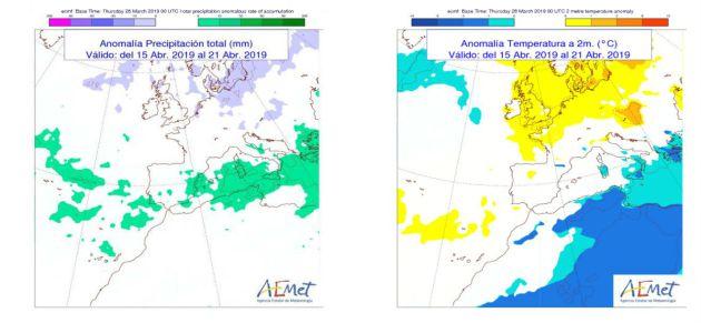 Tendencia general de temperaturas y lluvias para la semana del 15 al 21 de abril. / Aemet