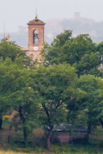 Photo: Irene's camera has mega zoom.  It's not that clear but it has a watercolour-like quality to it.  This is the church bell in the next village.