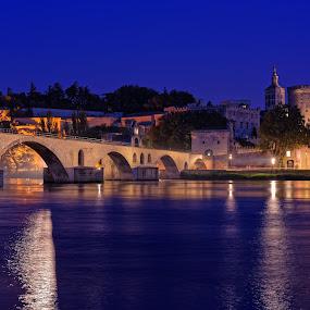 The Splendor of Avignon by Claus Dahm - Buildings & Architecture Public & Historical ( lights, avignon, blue hour, avignon bridge, the popes' palace, night, france )