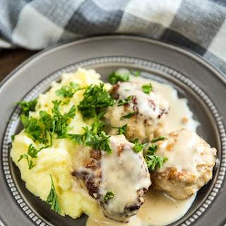 Slow Cooker Chicken Meatballs with Cream Sauce.