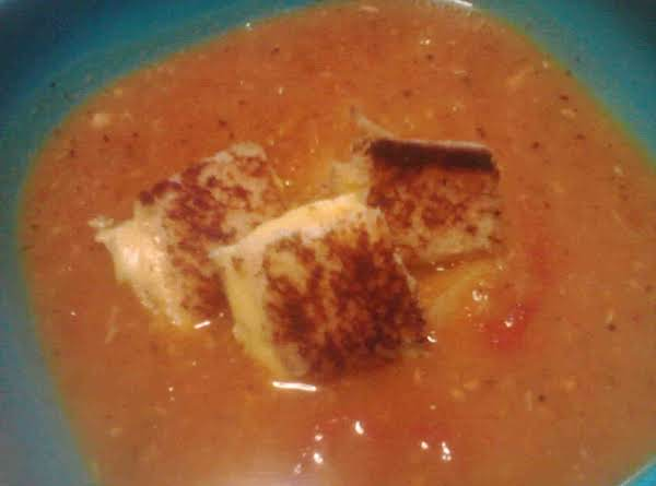 Roasted Tomato Soup & Grilled Cheese Croutons Recipe