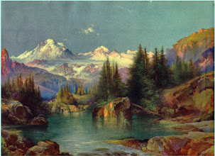 "Photo: This is a gorgeous litho from about the 1930's that has not faded at all. The original painting is from 1894 by Thomas Moran entitled ""High up in the Rockies"""