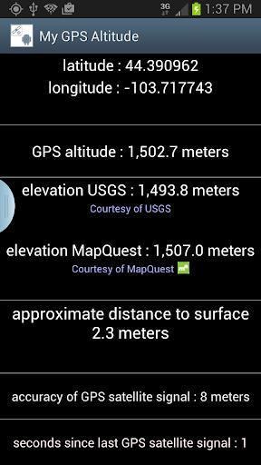 我的 GPS 海拔高度和高程