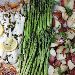 Sheet Pan Herb Crusted Halibut with Potatoes and Veggies.