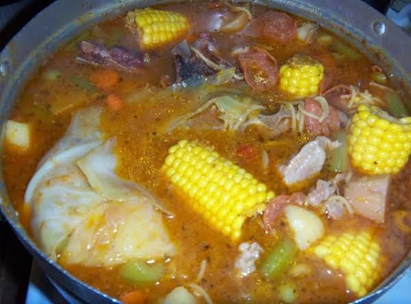 Smoke Pork  Bone Hearty Soup W/ Vegetables