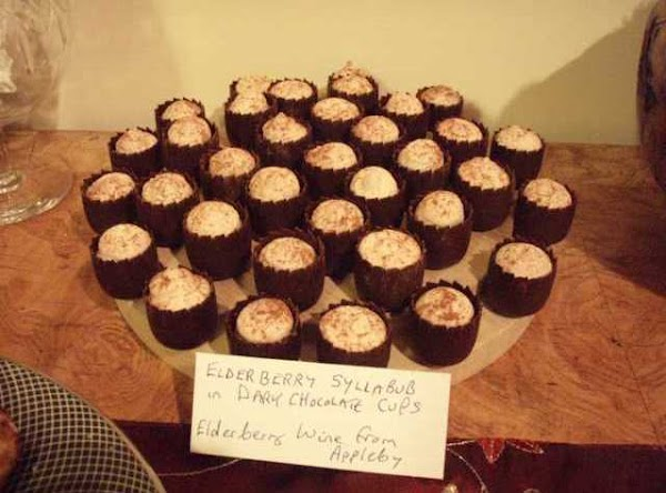 Elderberry Syllabub In Dark Chocolate Cups Recipe