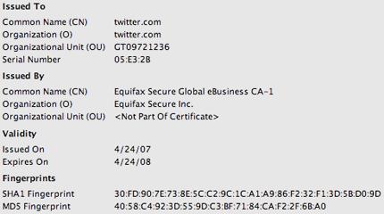 Twitter SSL certificate Firefox view