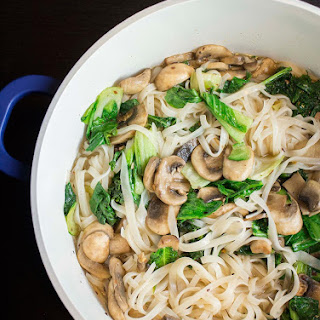 Chinese Bok Choy and Mushroom Noodles.