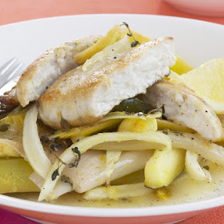 Sea Bass with Fennel and Leek