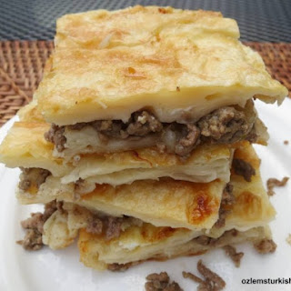 Tray bake filo pastry with ground meat and onions; Kiymali Borek.