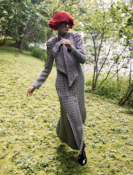 BROCK COLLECTION coat dress with scarf; GUCCI glasses; ETRO shoes