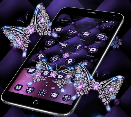 Android Diamond: Violet Diamond Butterfly Leather Theme Mod Apk Unlimited