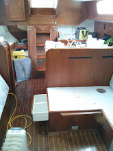 Photo: Future house  battery locker is forward of galley. The site is originally occupied by drawer & small locker.