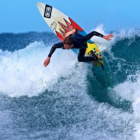 Carving up the wave by Julie Steele - Sports & Fitness Surfing ( steele, surfer, wave )