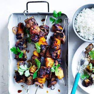 Soy-glazed Pork-and-pineapple Skewers.